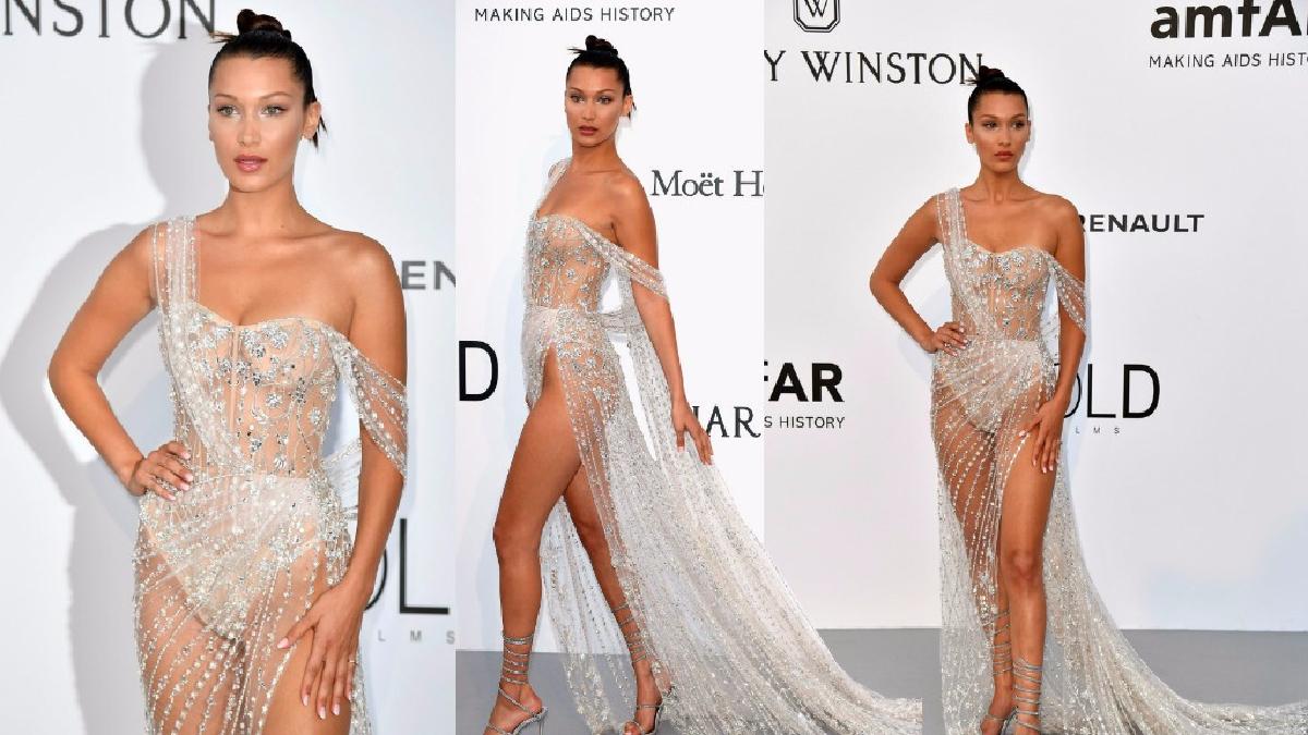 Cannes: Bella Hadid casi desnuda con un vestido transparente en la gala amfAR