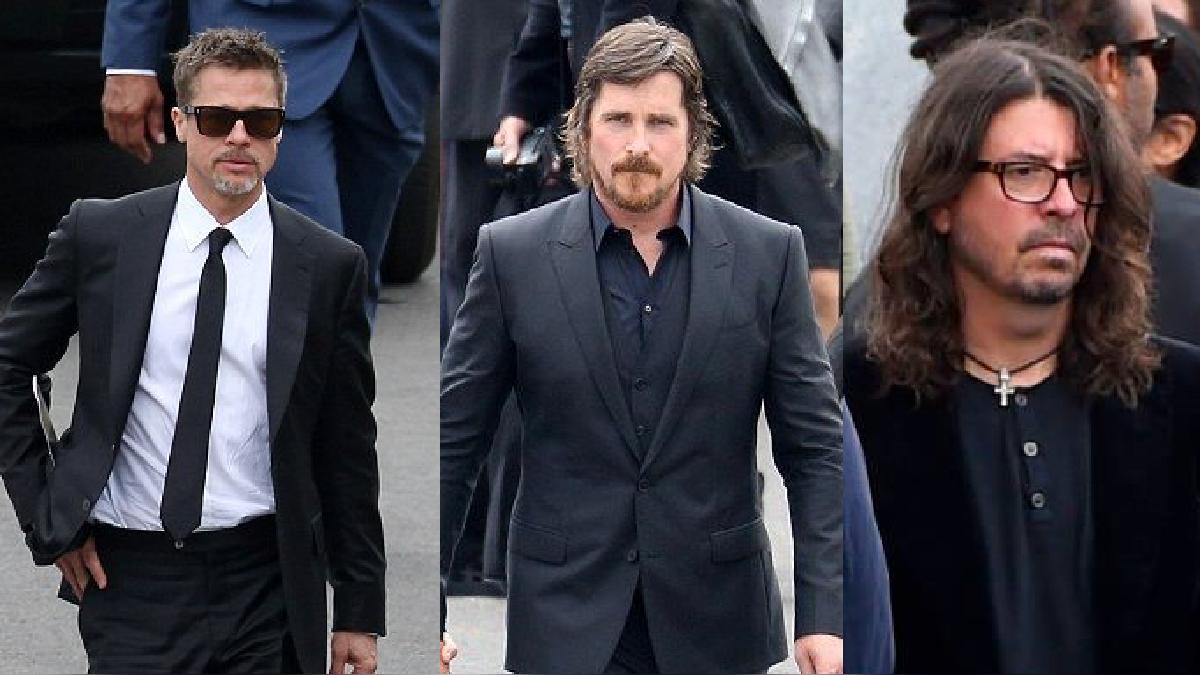 Christian Bale, Dave Grohl y Brad Pitt en el funeral de Chris Cornell