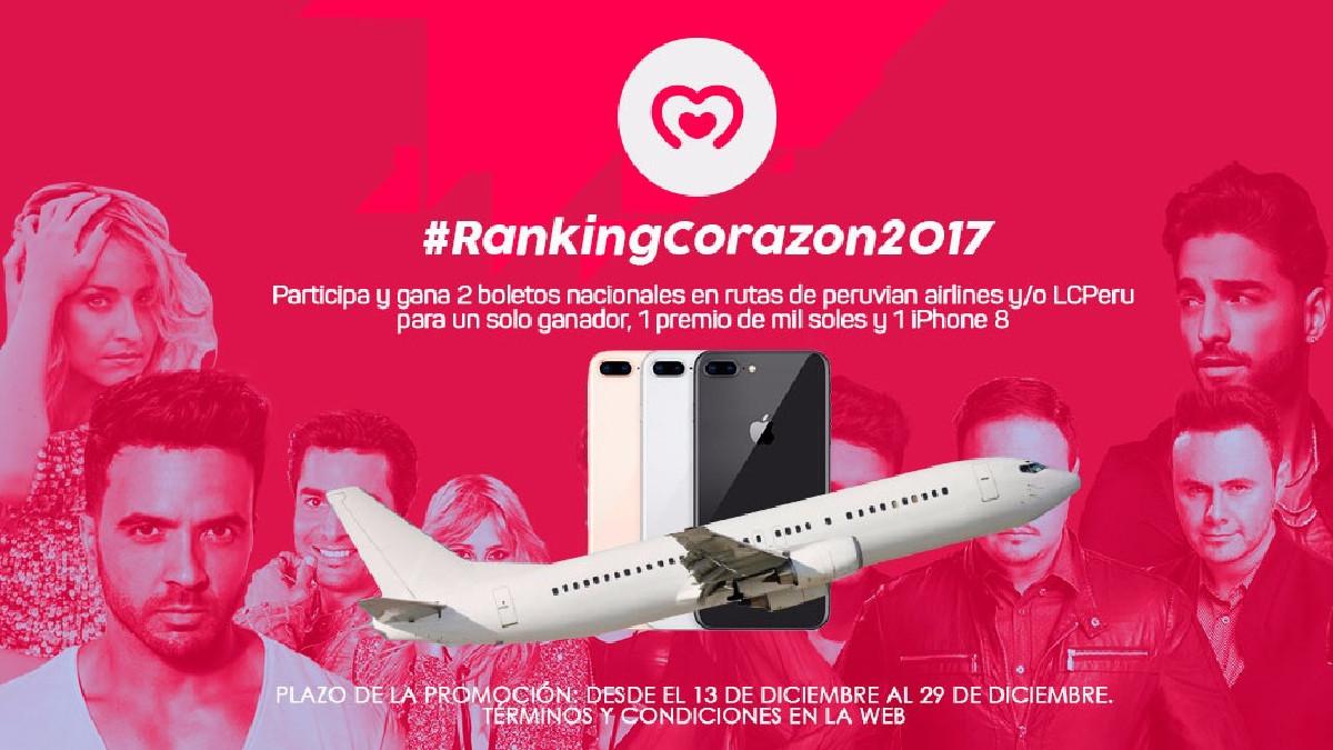 ¡Gana un iPhone, un viaje o 1000 soles participando en el Ranking Corazón!